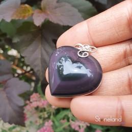 Pendentif Cœur- Obsidienne...